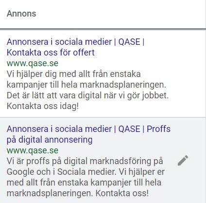 Annonsera i socialamedier annonser SEM exempel